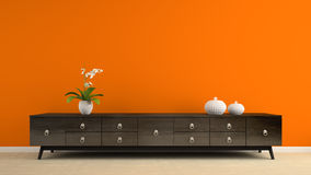 Part of interior with retro consol and orange wall 3D rendering Royalty Free Stock Photo