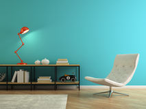 Part of interior with retro red lamp 3D rendering Stock Photo