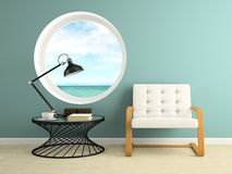Part of  interior with round window 3D rendering Stock Image