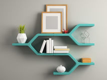 Part of interior with the shelf 3D illustration Stock Photo
