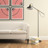 Part of interior with sofa, lamp and books Stock Photography