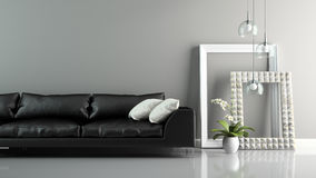 Part of  interior with sofa and stylish frames 3D rendering Royalty Free Stock Image