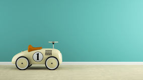 Part of  interior with stylish beige toy car 3D rendering Royalty Free Stock Images