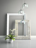 Part of  interior with stylish frames 3D rendering 3 Stock Photos