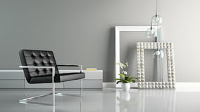 Part of  interior with stylish frames 3D rendering 2 Royalty Free Stock Photography