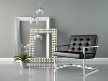 Part of  interior with stylish frames 3D rendering Royalty Free Stock Images