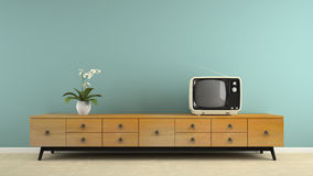 Part of  interior with stylish retro consol 3D rendering Royalty Free Stock Photo