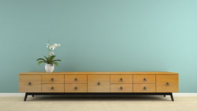 Part of  interior with stylish retro consol and orchid 3D render Stock Images