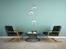 Part of  interior with two black armchair 3D rendering 2 Stock Images