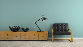 Part of  interior with two black vases and armchair 3D rendering Stock Photos