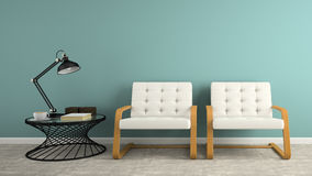 Part of  interior with two white armchair 3D rendering Royalty Free Stock Photography