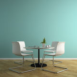 Part of interior with white armchairs and table 3D rendering Stock Images