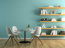 Part of interior with white chairs and shelving 3D rendering 3 Stock Photo