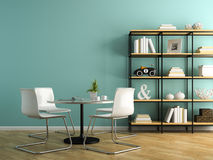 Part of interior with white chairs and shelving 3D rendering Royalty Free Stock Photography