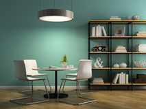 Part of interior with white chairs and shelving 3D rendering 2 Royalty Free Stock Photo