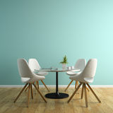 Part of interior with white chairs and table 3D rendering Royalty Free Stock Image