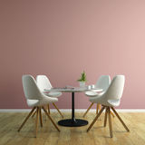 Part of interior with white chairs and table 3D rendering Stock Photography