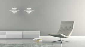 Part of  interior with white lamps and armchair 3D rendering Royalty Free Stock Photos