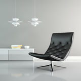 Part of   interior with white lamps and black armchair 3D renderi Stock Photography