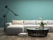 Part  of interior with  white sofa and orchid 3d rendering Stock Photo