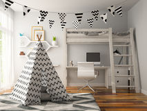 Part of Interior with wigwam 3D rendering Stock Image
