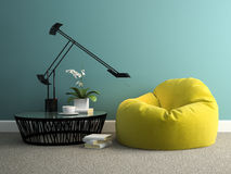 Part of  interior with yellow beanbag 3d rendering Royalty Free Stock Images