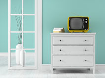 Part of interior with yellow TV Royalty Free Stock Photo