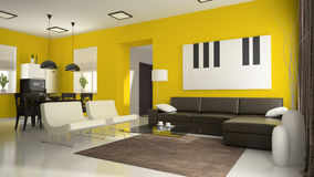 Part 4 of interior with yellow walls Stock Images