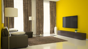 Part 3 of interior with yellow walls Stock Photos