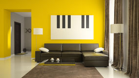 Part 1  of interior with yellow walls Royalty Free Stock Photo