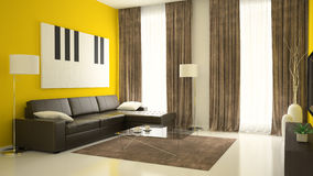 Part 2 of interior with yellow walls Stock Photos