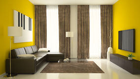 Part of interior with yellow walls Stock Image