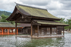 Part of itsukushima Shinto Shrine barely above sea level. Royalty Free Stock Image