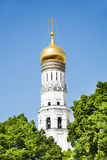 Part of Ivan the Great Bell from trees Royalty Free Stock Photos
