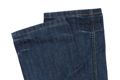 Part of jeans trousers on white background Stock Photo