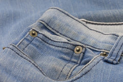 Part of jeans trousers with pockets and rivet Royalty Free Stock Photo