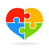 4 part jigsaw puzzle heart. Diagram Stock Photos