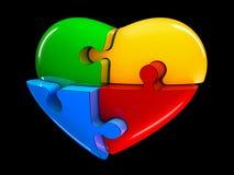 4 part jigsaw puzzle heart diagram illustration isolated on black background.  royalty free illustration