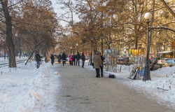 Part of Karl Marx avenue - place where artists everyday show and sell their work to people Royalty Free Stock Image