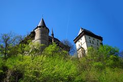Part of Karlstejn Castle. Over blue sky during the summer day Stock Image