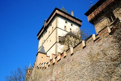 Part of Karlstejn Castle. Over blue sky during the summer day Stock Photography
