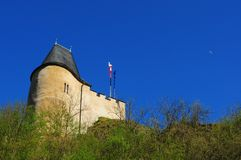 Part of Karlstejn Castle. Over blue sky during the summer day Royalty Free Stock Photography