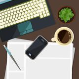 Part of keyboard with cell phone, chancellery and plant Royalty Free Stock Photo