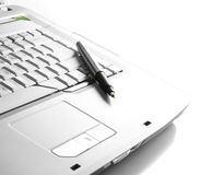 Part of keyboard with pen Royalty Free Stock Image
