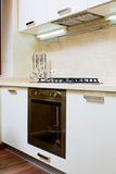 Part of kitchen interior with gas-stove Stock Photos