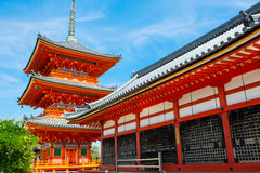 Part of Kiyomizu-dera Temple in Kyoto, Japan. On warm spring or summer day Stock Image
