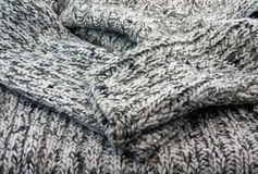 The part of knittet wool. Close up stock photography