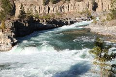 Closer view of the Wild Kootenai River in mountains of Northwestern Montana. Part of the Kootenai Falls in Northwestern Montana. the River of the Kootenai flows stock images
