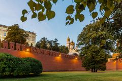 The part of the Kremlin wall at night, Moscow, Russia/ stock images