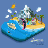 Part of the land to the sea and the mountains. Palm trees and a yacht, paradise, summer vacation, sea, ocean, on the beach. Kitesurfing sport. Vector work flat Stock Photos